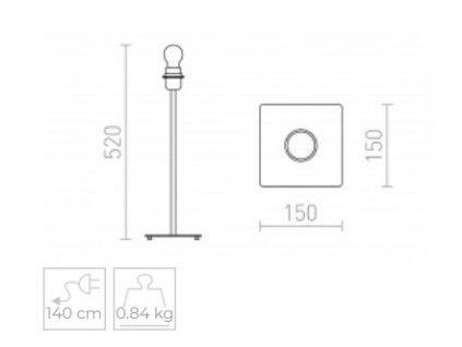 CORTINA stolní podstavec černá 230V E27 28W