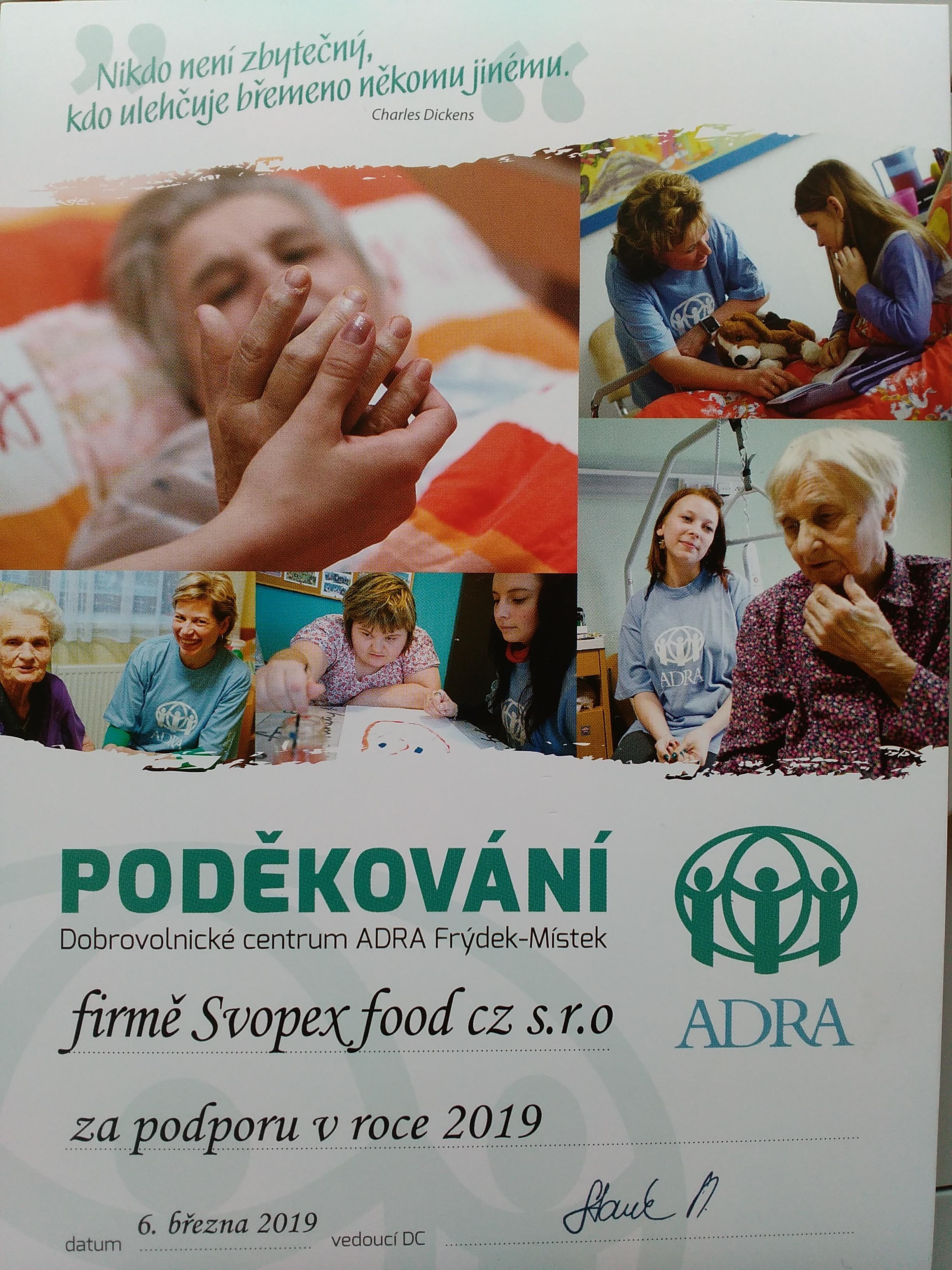 Poporujeme Dobrovolnické centrum ADRA