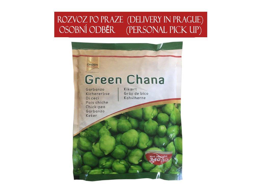 Mrážená zelená cizrna (Frozen Green Chana Raw), CROWN 340g