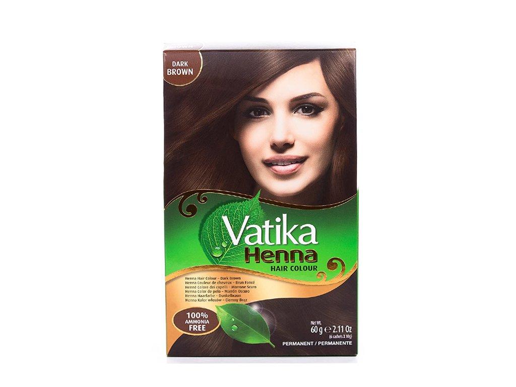 Henna tmavě hnědá barva (Henna Dark Brown Hair Colour), Vatika 60g