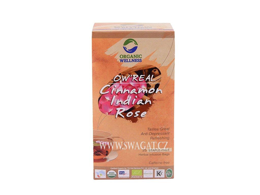 Bio Tulsi s růží a skořicí (Bio Tulsi Cinnamon Indian Rose), OW 25 sačků