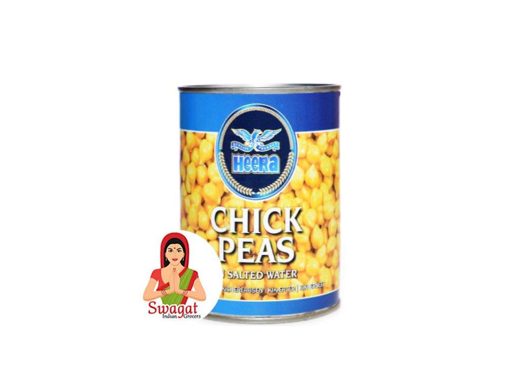 Konzervovaná cizrna ve slaném nálevu (Chick Peas in Tin), HEERA 400g