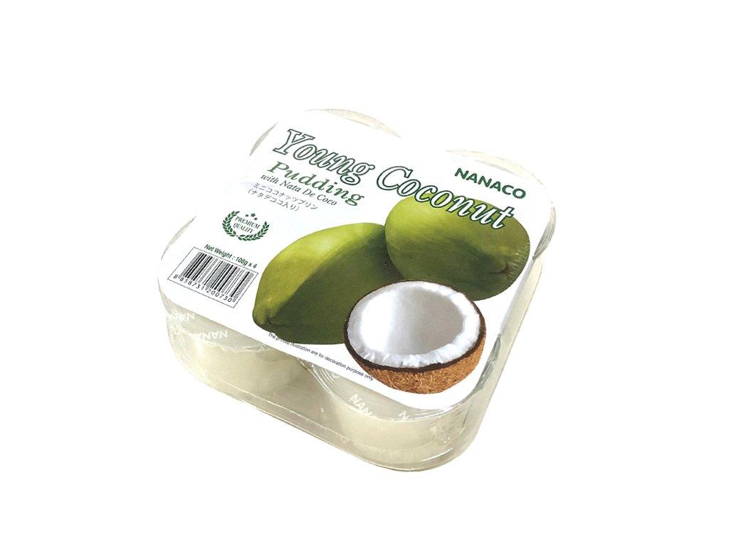 Kokosový pudink Nata de coco z mladého kokosu (Yound Coconut Pudding), NANACO 4x108g