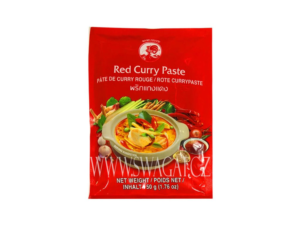 Červená kari pasta (Red Curry Paste), COCK BRAND 50g