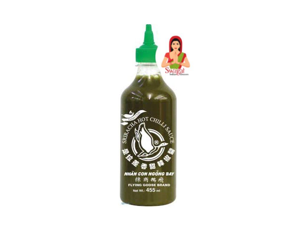 Sriracha Hot chilli omáčka ze zeleného chilli (Green Chilli Sauce), FLYING GOOSE BRAND 455 ml