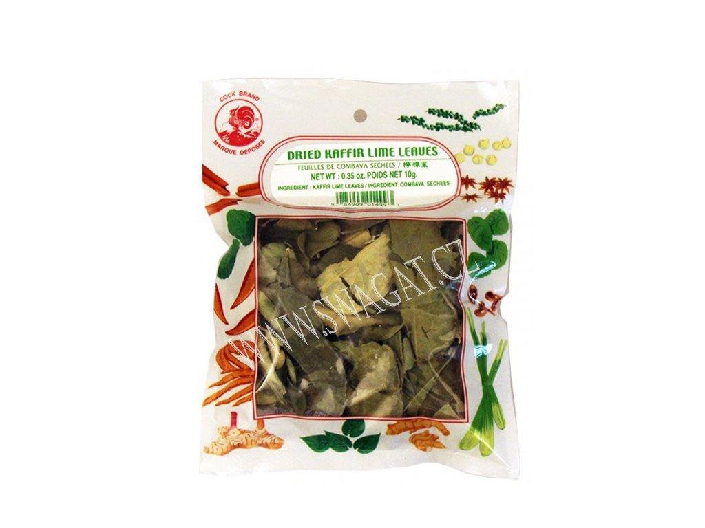 Sušené limetkové listy (Dried Kaffir Lime Leaves), COCK BRAND 10g