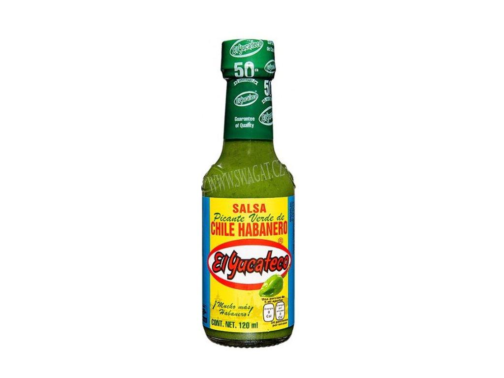 Salsa picante de Chile Habanero - zelená ostrá omáčka s havanskými chilli, El YUCATECO 120ml
