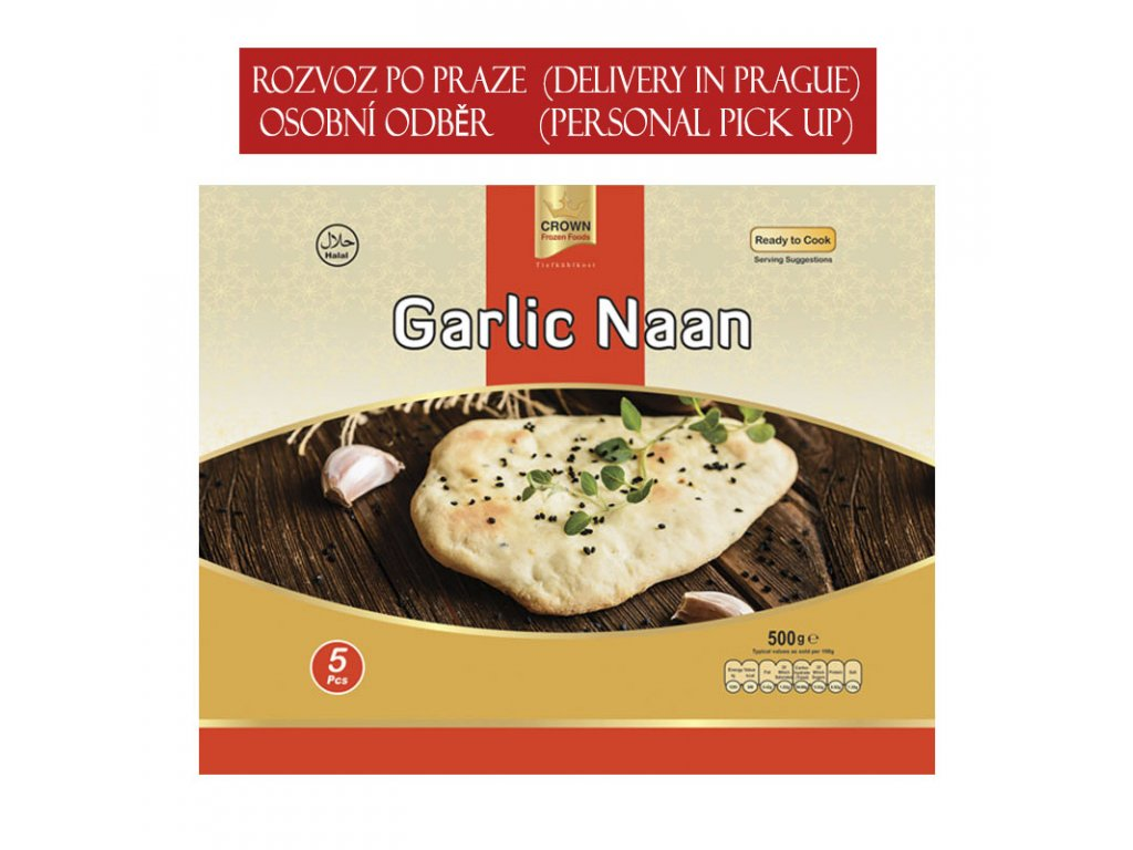 Česnekový naan (Garlic), CROWN 500g (5ks)