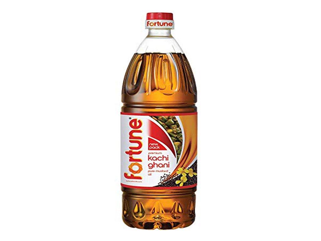 Kachi Ghani - čistý hořčičný olej (Pure Mustard Oil), FORTUNE 1L