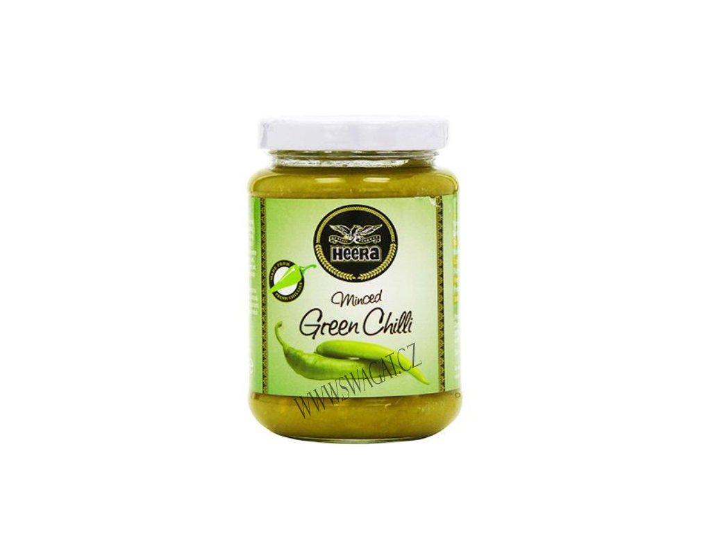 Pasta z mletých zelených chilli (Minced Green Chilli Paste), HEERA 210g