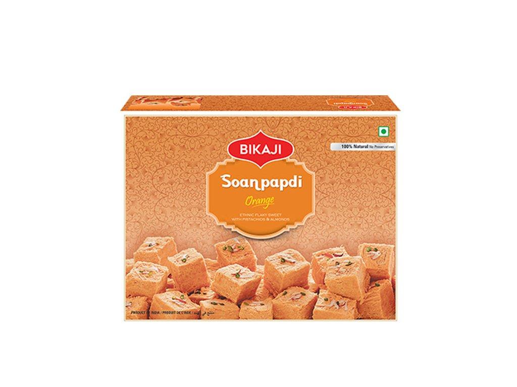 Indický dezert Orange Soan Papdi, BIKAJI 500g