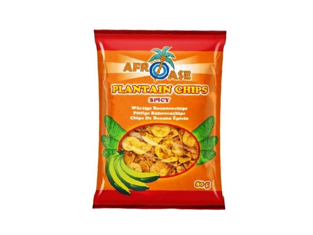 Banánové chipsy ostré (Plantain Chips Spicy), AFROASE 80g