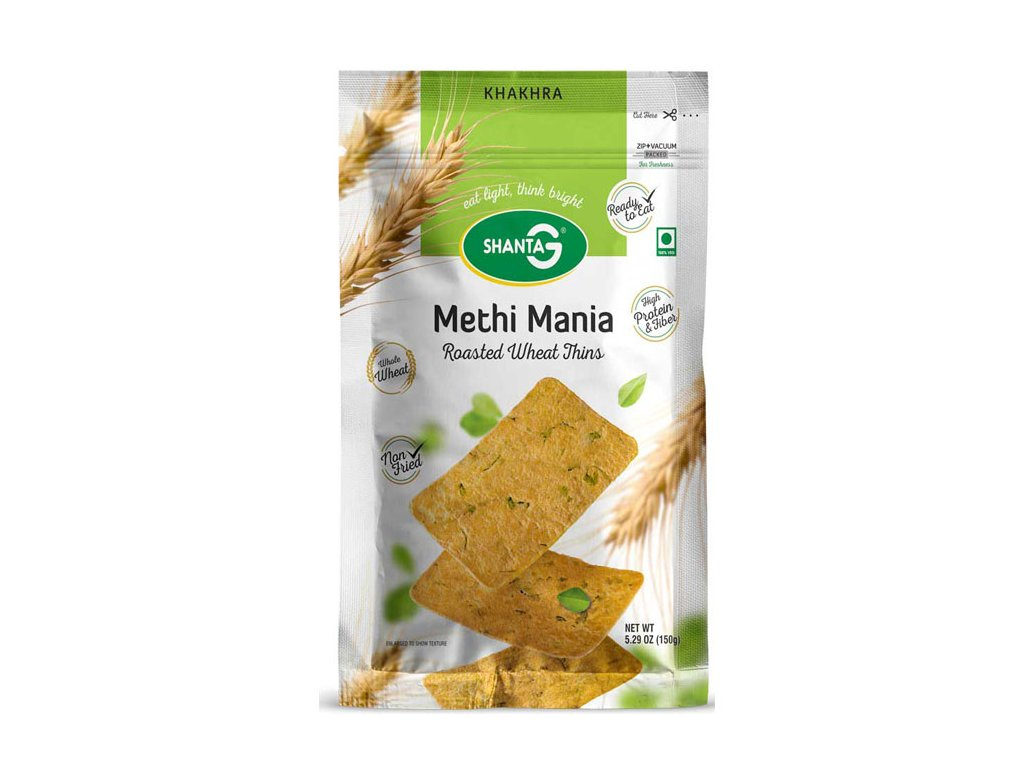 Pečená tenká Khakra Methi Mania, SHANTA G 150g