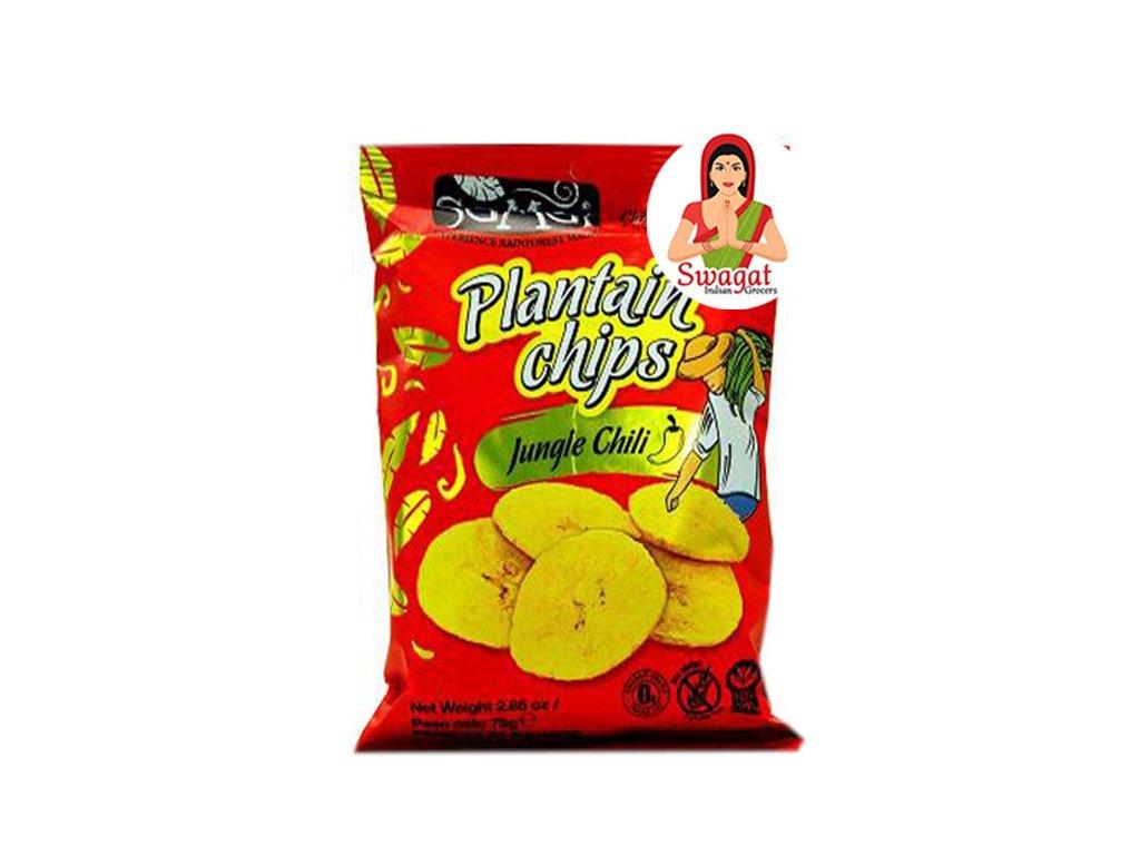 Banánové chipsy s chilli (Plantain Chips Jungle Chilli), SaMai 75g