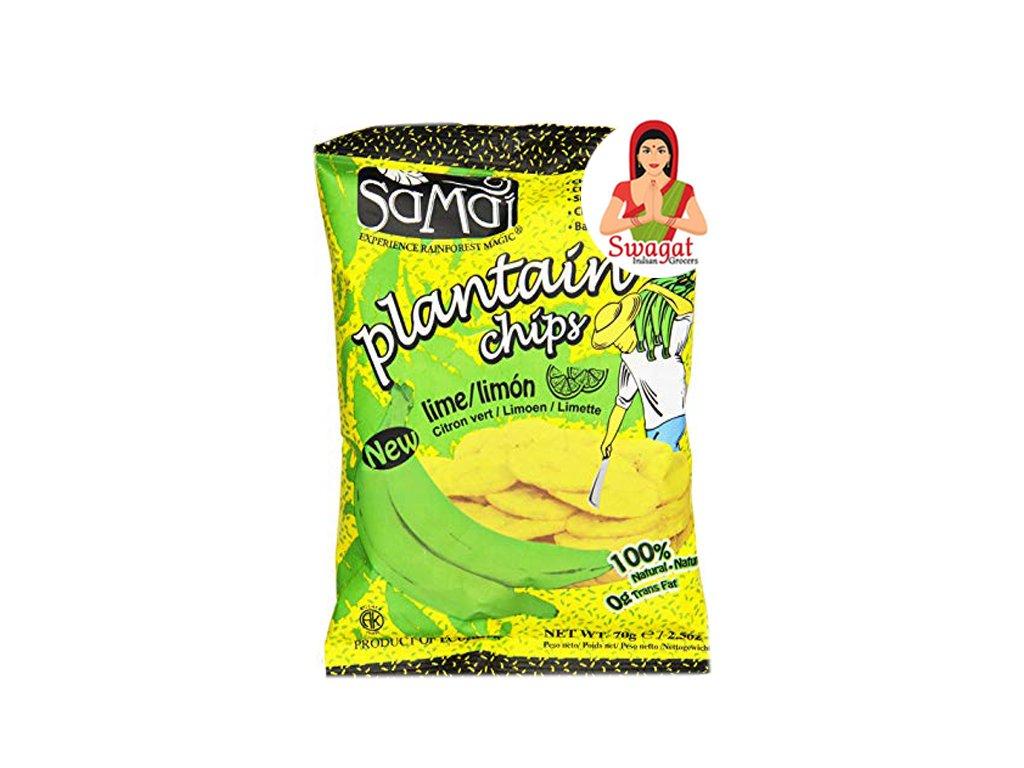 Banánové chipsy citronové (Plantain Chips Lime), SaMai 75g
