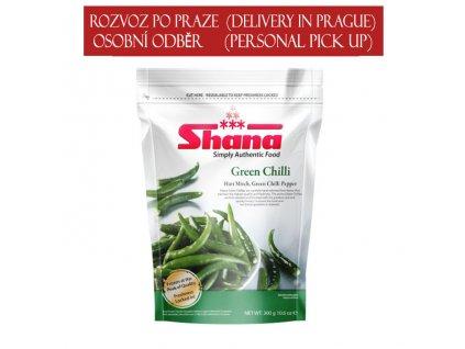 Zelené chilli mražené (Frozen Green Chili), Shana 300g