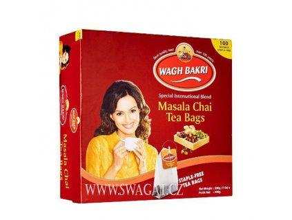 Masala čaj 100 sačků (Masala Tea 100 tea bags), WAGH BAKRI 200g