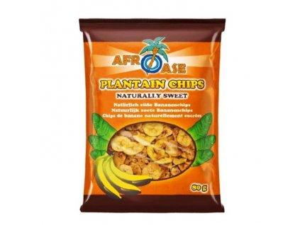 Banánové chipsy přirozeně sladké (Plantain Chips Naturally Sweet), AFROASE 80g