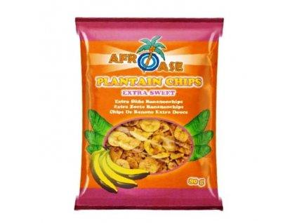Banánové chipsy extra sladké (Plantain Chips Extra Sweet), AFROASE 80g