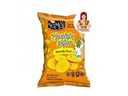 Banánové chipsy přirozeně sladké (Plantain Chips Naturally Sweet), SaMai 75g