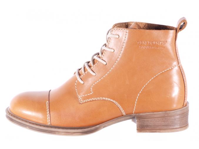 Dámská vycházková kožená šněrovací kotníková obuv značky Ten Points  TP 125001 319 (Velikost 41, barva 319 cognac)