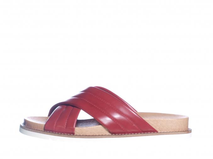 Dámské kožené pantofle švédské značky Ten Points TP 345021 801 (Velikost 41, barva 801 červená)