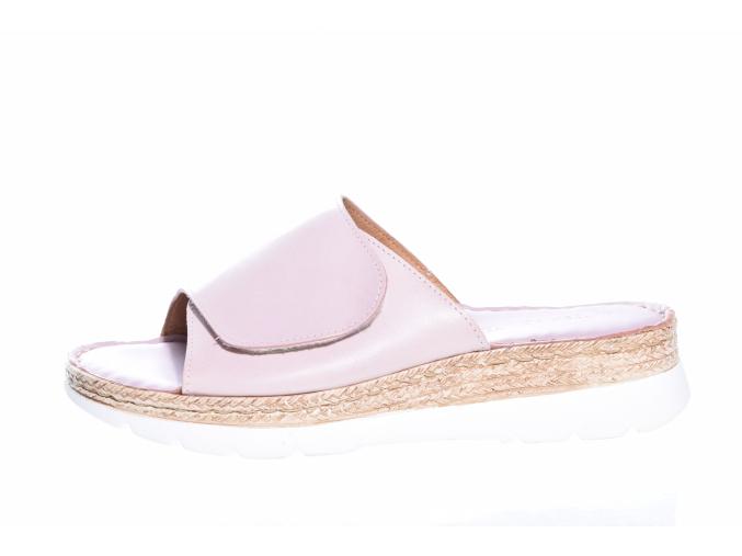 Volnočasové kožené dámské pantofle švédské značky Ten Points TP 515003 880 (Velikost 41, barva 880 sv.růžová)