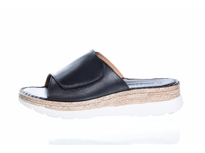 Volnočasové kožené dámské pantofle švédské značky Ten Points TP 517003 101 (Velikost 41, barva 101 černá)