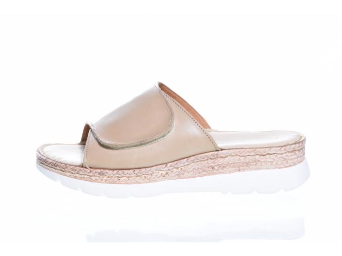 Volnočasové kožené dámské pantofle švédské značky Ten Points TP 517003 470 (Velikost 41, barva 470 cappucino)