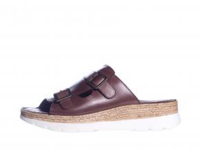 Volnočasové kožené dámské pantofle švédské značky Ten Points TP 515002 301 (Velikost 41, barva 301 hnědá)