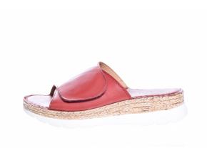 Volnočasové kožené dámské pantofle švédské značky Ten Points TP 515003 801 (Velikost 41, barva 801 červená)