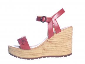 Trendové páskové sandále na klínku od švédské značky Ten Points TP 475003 801 (Velikost 40, barva 801 červená)