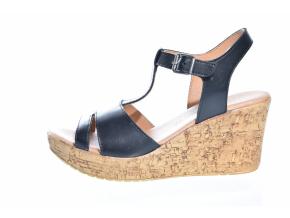 Trendové kožené sandály švédské značky Ten Points TP 475010 101 (Velikost 41, barva 101 černá)