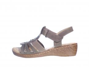 páskové sandále na podpatku od značky Soft Dreams L 81/218-011 64 (Velikost 41, barva 64 khaki)
