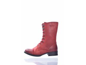 DÁMSKÁ KOŽENÁ ŠNĚROVACÍ POLOKOZAČKA ZNAČKY TEN POINTS  TP 126019 801 (Velikost 42, barva 801 červená)