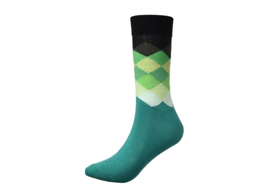 panske barevne ponozky černo zelený vzor
