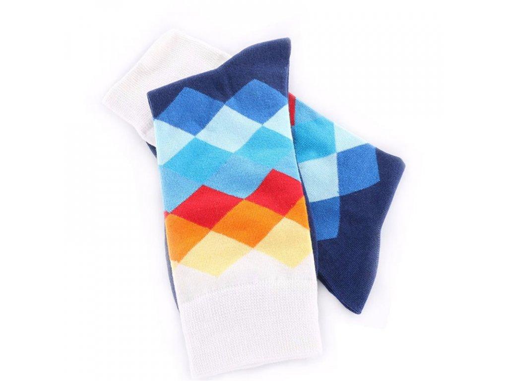 nejlevnejsii panske barevne ponozky white darkblue squares