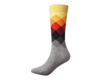 nejlevnejsii panske barevne ponozky yellow grey squares