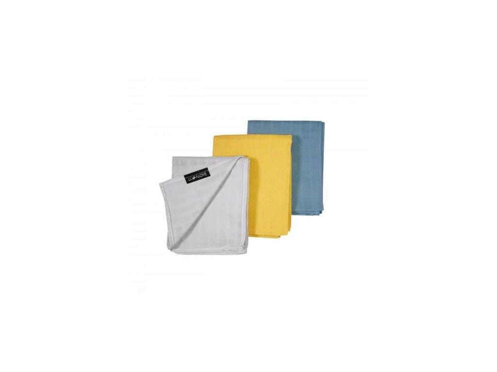 Lullalove Sada barevných tetra plenek 55x75cm - 3 barvy