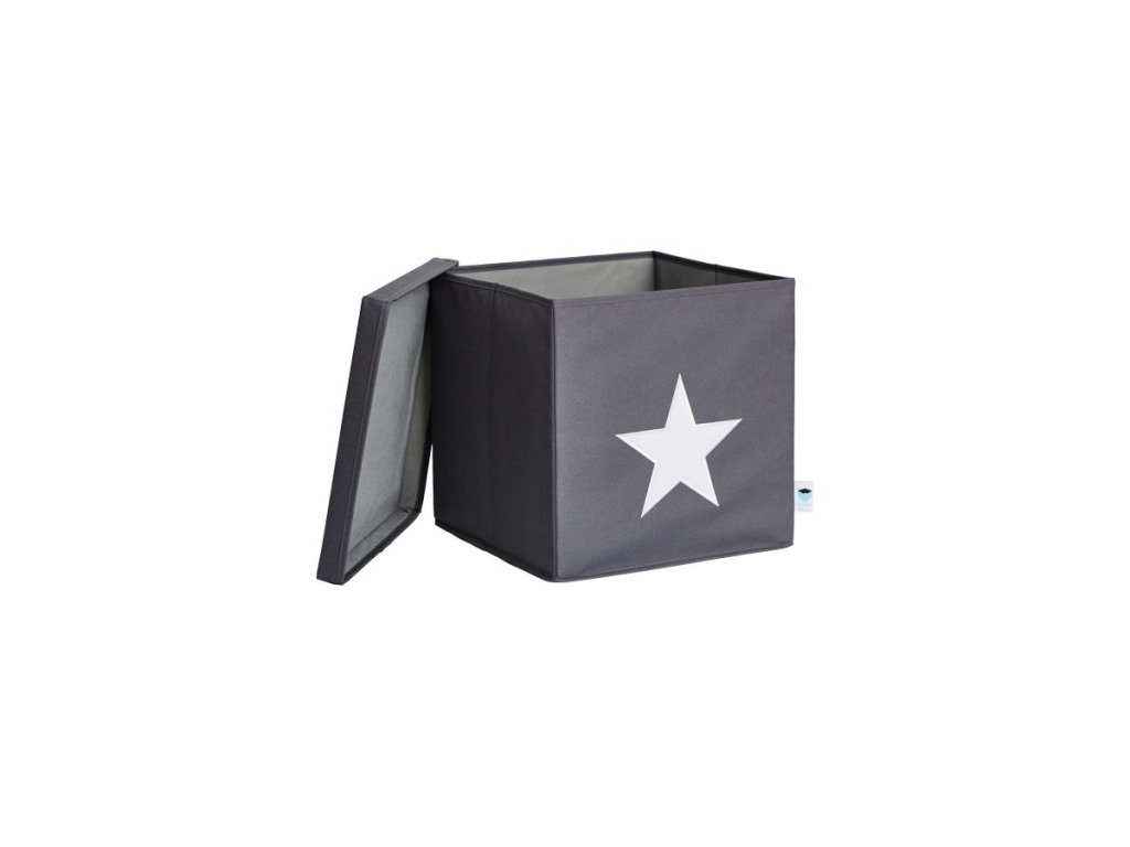 STORE IT Úložný box s víkem šedá s bílou hvězdou