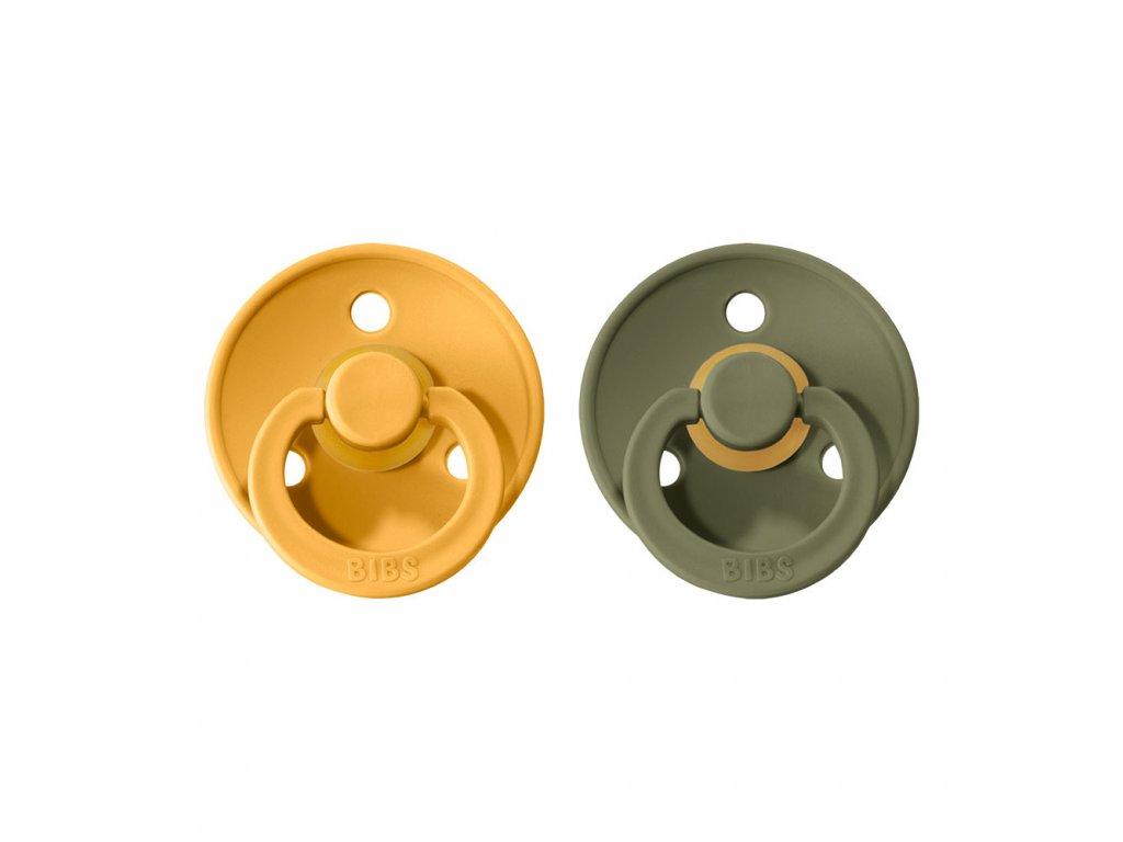 BIBS Colour Dudlíky z přírodního kaučuku vel. 1 Honey Bee/Olive, 2ks