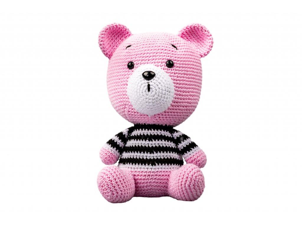 Háčkovaný medvěd pruhovaný růžový
