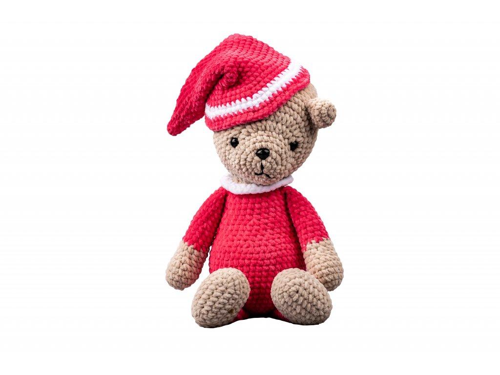 Háčkovaný medvěd s čepicí růžový