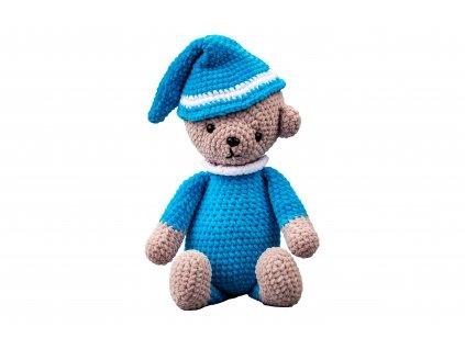 Háčkovaný medvěd s čepicí modrý