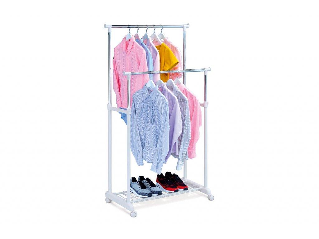 Stojan na šaty s odkladačem na boty, chrom / bílá ABD-1222 WT