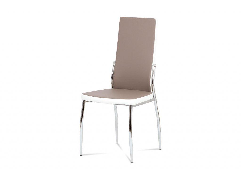 Jídelní židle koženka lanýž + bílá AC-1693 LAN