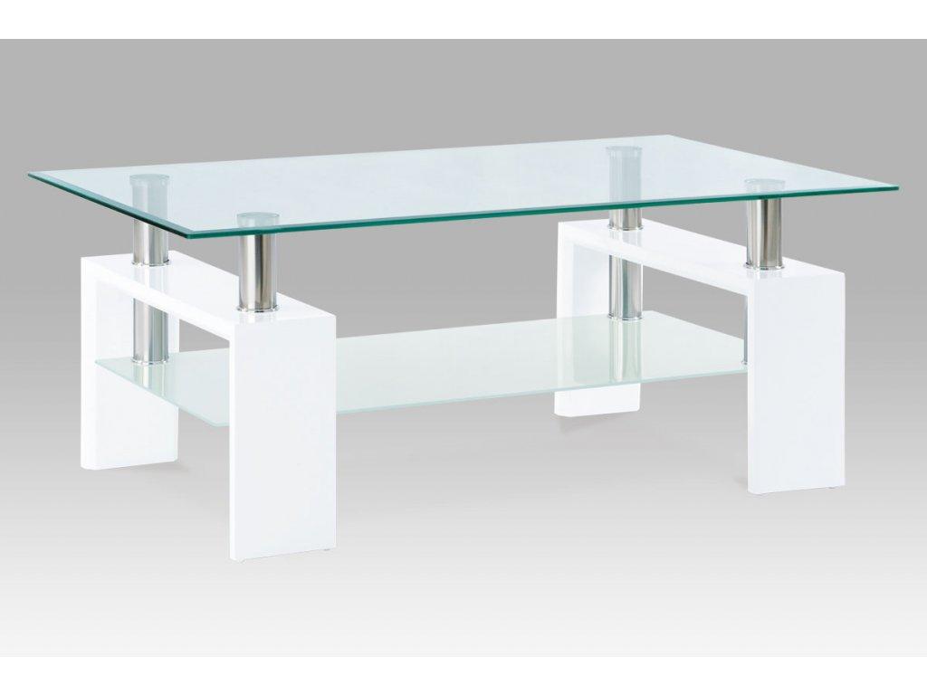Konferenční stolek 110x60x45 cm, bílý lesk / čiré sklo 8 mm AF-1024 WT