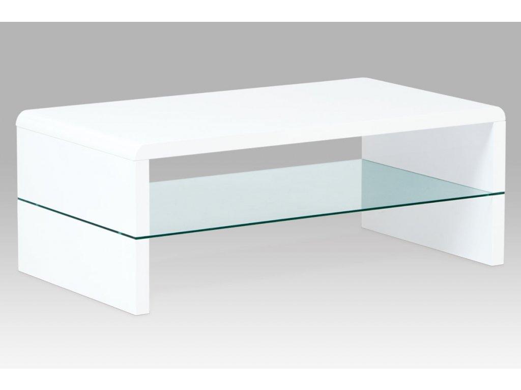 Konferenční stolek 110x60x40 cm, MDF vysoký lesk bílý / čiré sklo AHG-402 WT