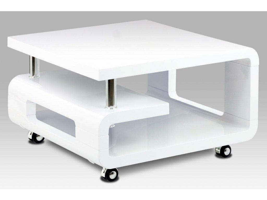 Konferenční stolek 70x70x43, bílá MDF vysoký lesk, chrom, 4 kolečka AHG-617 WT