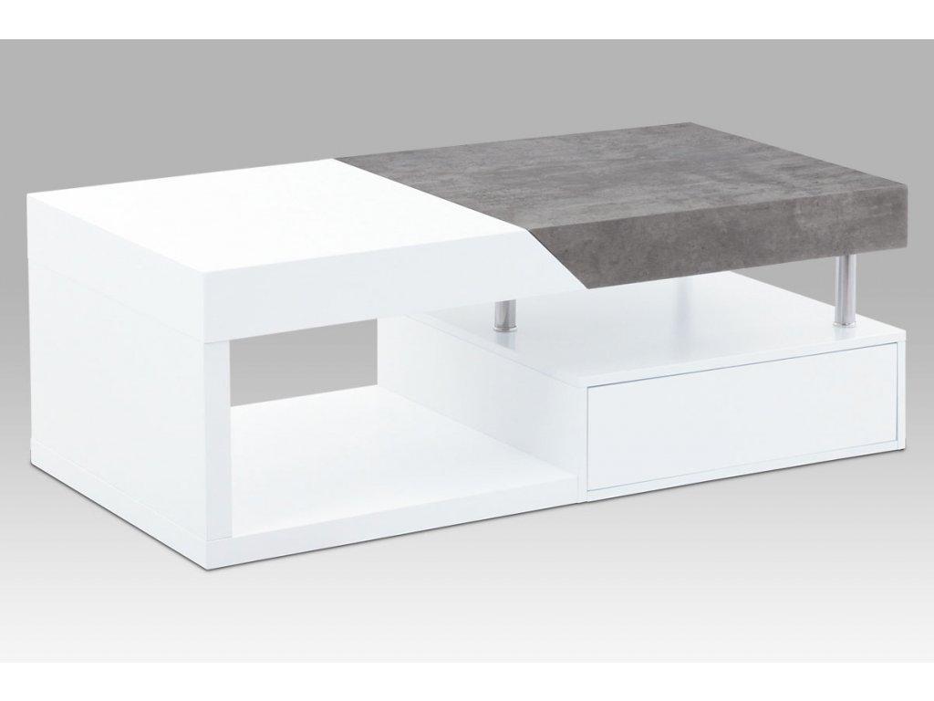 Konferenční stolek 120x60x42, MDF bílý mat/dekor beton, 2 šuplíky AHG-622 WT